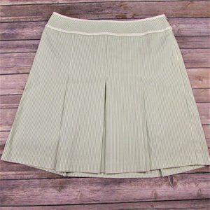 Ann Taylor Loft Pleated Green Striped Skirt 12P